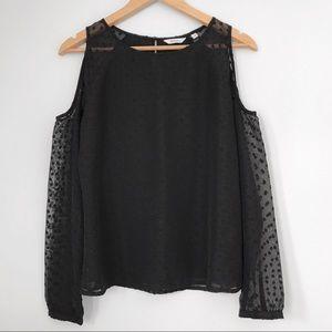 Black swiss dot cold shoulder blouse
